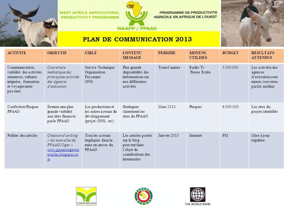 PLAN DE COMMUNICATION 2013 ACTIVITEOBJECTIFCIBLECONTENU MESSAGE PERIODEMOYENS UTILISES BUDGETRESULTATS ATTENDUS Communication- visibilité des activité