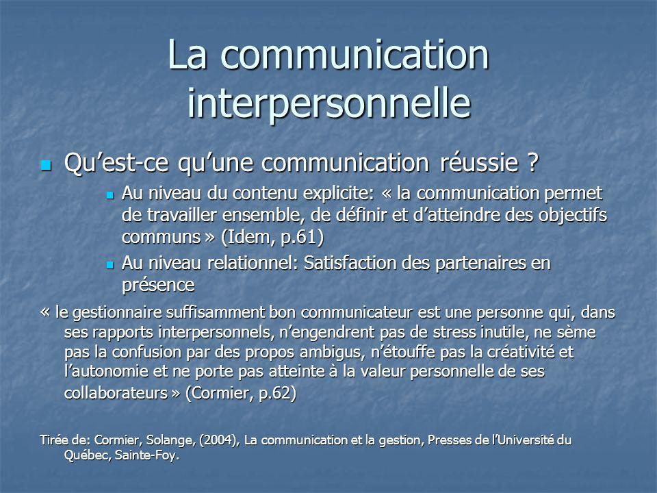 La communication interpersonnelle Quest-ce quune communication réussie ? Quest-ce quune communication réussie ? Au niveau du contenu explicite: « la c