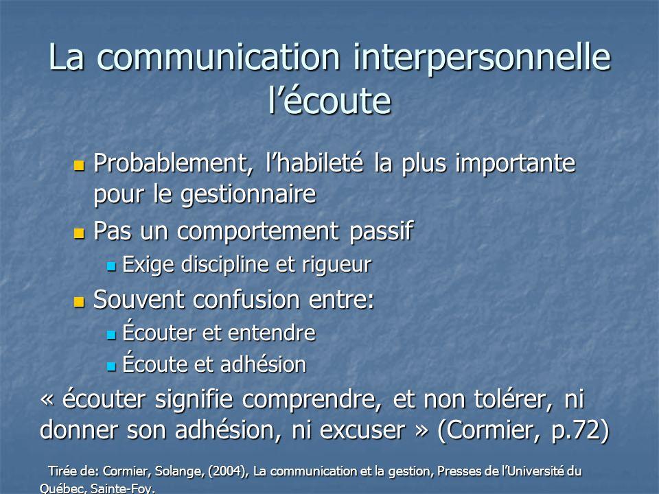 La communication interpersonnelle lécoute Probablement, lhabileté la plus importante pour le gestionnaire Probablement, lhabileté la plus importante p
