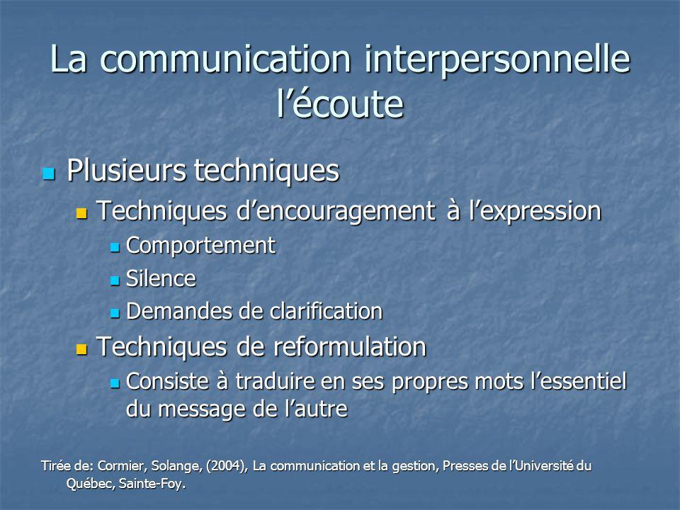 La communication interpersonnelle lécoute Plusieurs techniques Plusieurs techniques Techniques dencouragement à lexpression Techniques dencouragement