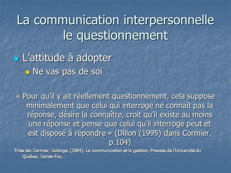 La communication interpersonnelle le questionnement Lattitude à adopter Lattitude à adopter Ne vas pas de soi Ne vas pas de soi « Pour quil y ait réel