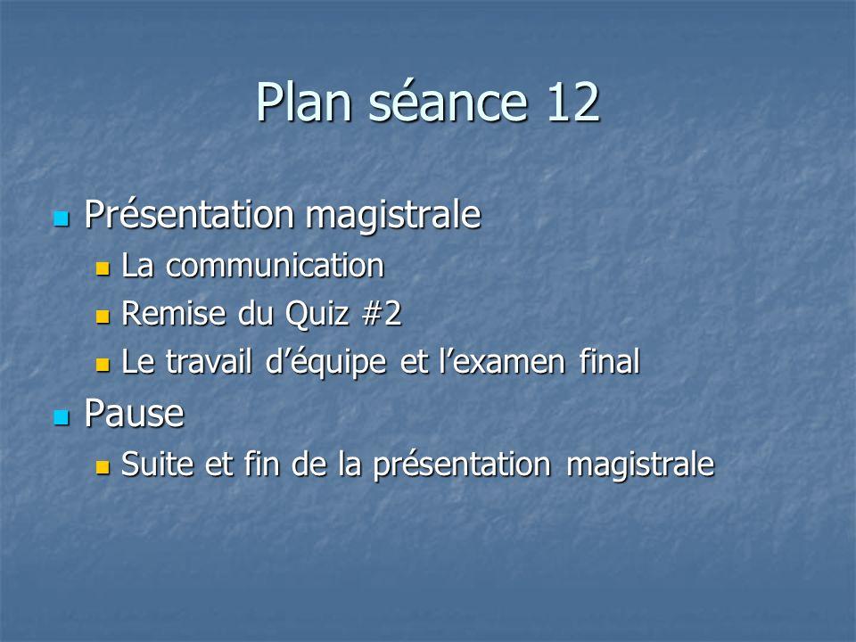 Plan séance 12 Présentation magistrale Présentation magistrale La communication La communication Remise du Quiz #2 Remise du Quiz #2 Le travail déquip