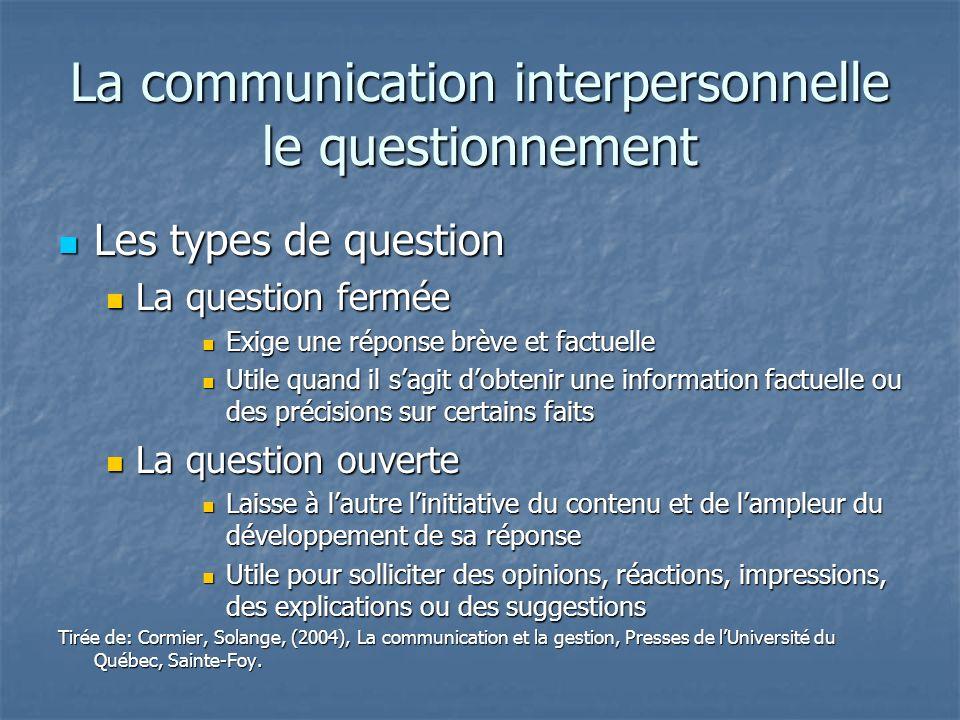 La communication interpersonnelle le questionnement Les types de question Les types de question La question fermée La question fermée Exige une répons