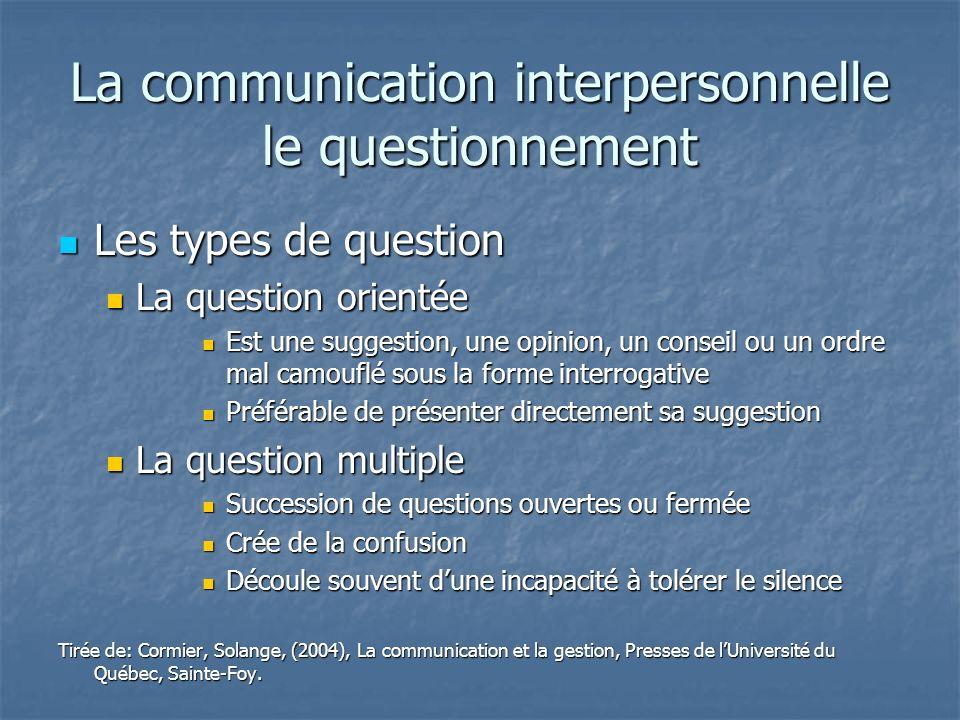 La communication interpersonnelle le questionnement Les types de question Les types de question La question orientée La question orientée Est une sugg