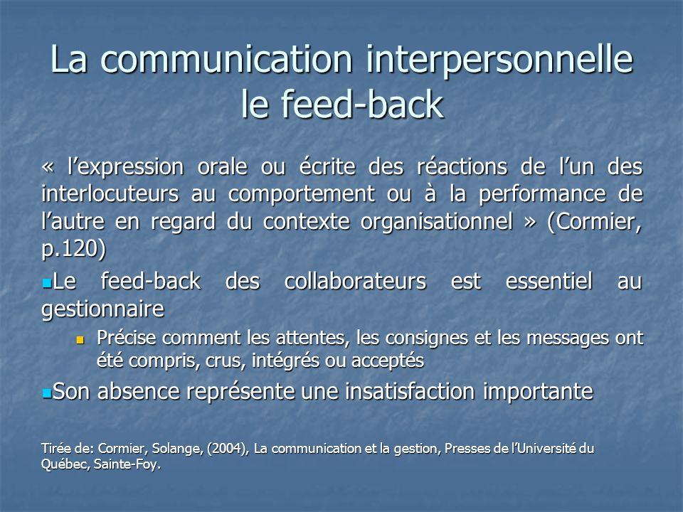 La communication interpersonnelle le feed-back « lexpression orale ou écrite des réactions de lun des interlocuteurs au comportement ou à la performan