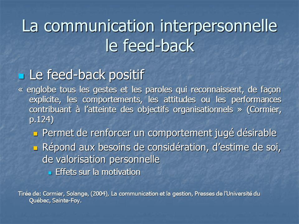 La communication interpersonnelle le feed-back Le feed-back positif Le feed-back positif « englobe tous les gestes et les paroles qui reconnaissent, d