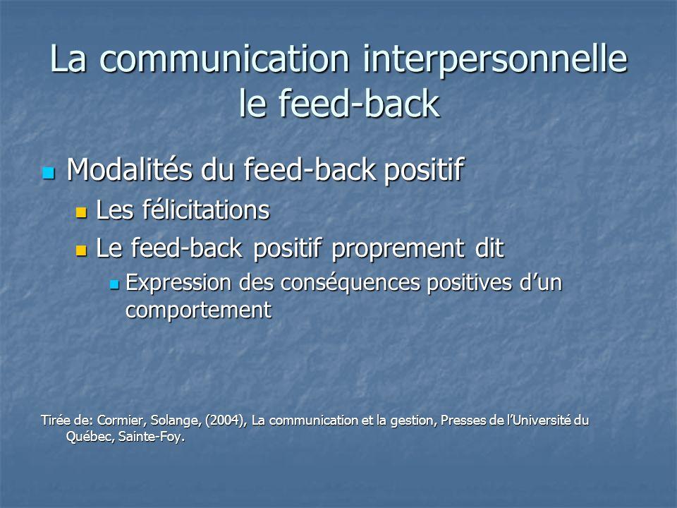 La communication interpersonnelle le feed-back Modalités du feed-back positif Modalités du feed-back positif Les félicitations Les félicitations Le fe