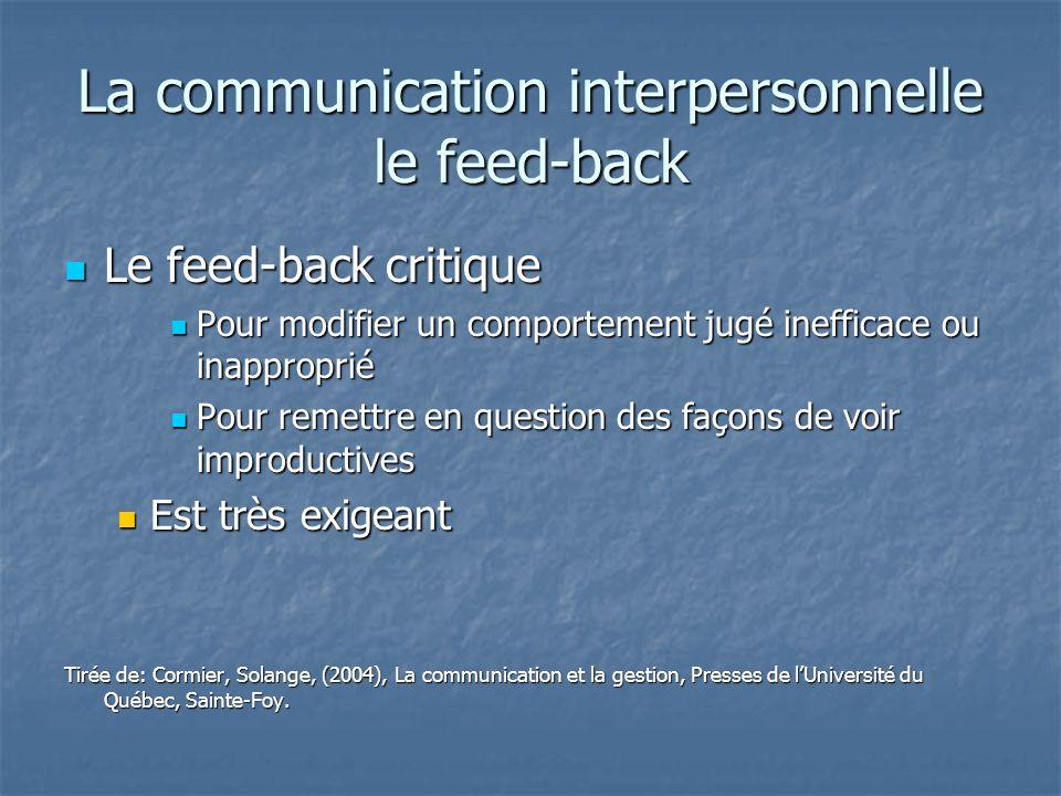La communication interpersonnelle le feed-back Le feed-back critique Le feed-back critique Pour modifier un comportement jugé inefficace ou inappropri