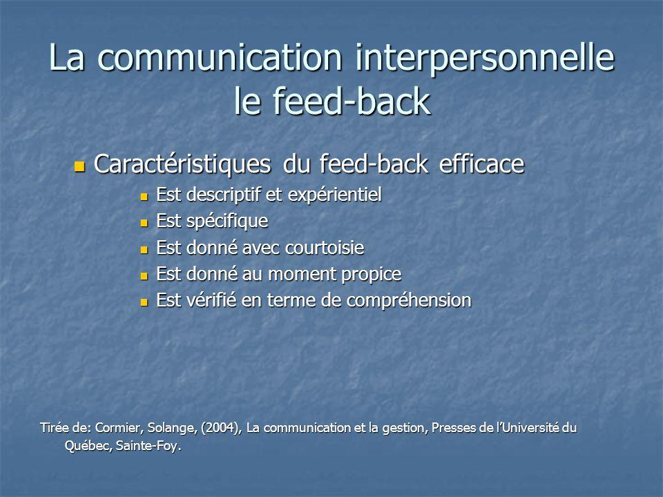 La communication interpersonnelle le feed-back Caractéristiques du feed-back efficace Caractéristiques du feed-back efficace Est descriptif et expérie