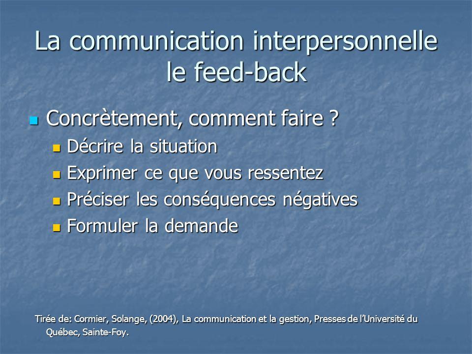La communication interpersonnelle le feed-back Concrètement, comment faire ? Concrètement, comment faire ? Décrire la situation Décrire la situation E
