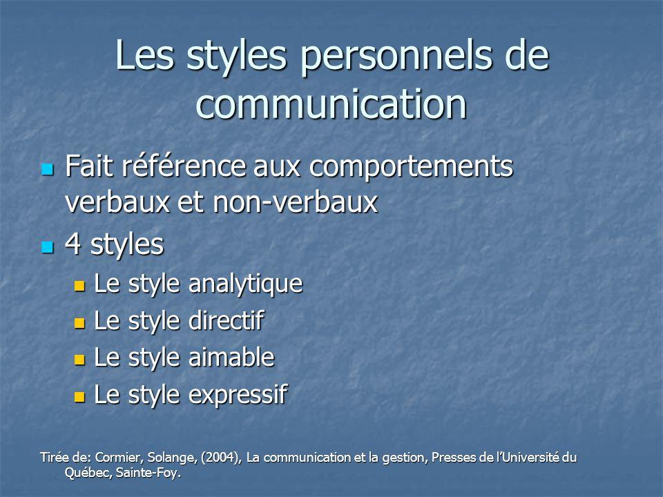 Les styles personnels de communication Fait référence aux comportements verbaux et non-verbaux Fait référence aux comportements verbaux et non-verbaux