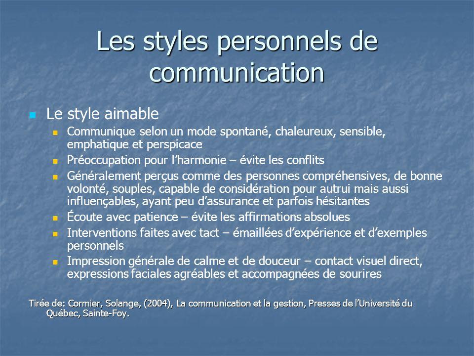Les styles personnels de communication Le style aimable Communique selon un mode spontané, chaleureux, sensible, emphatique et perspicace Préoccupatio