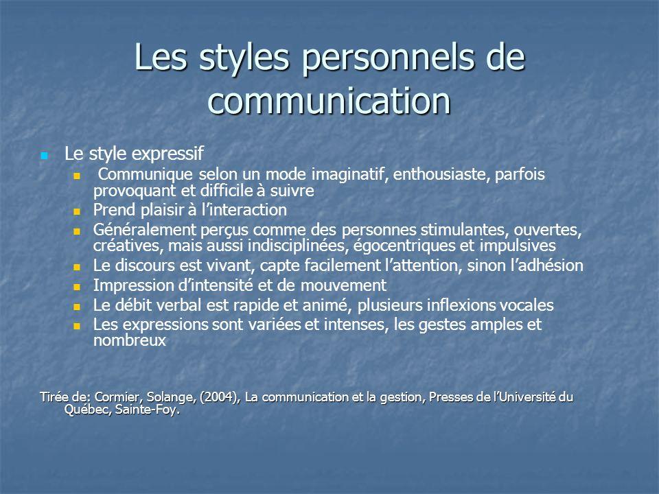 Les styles personnels de communication Le style expressif Communique selon un mode imaginatif, enthousiaste, parfois provoquant et difficile à suivre