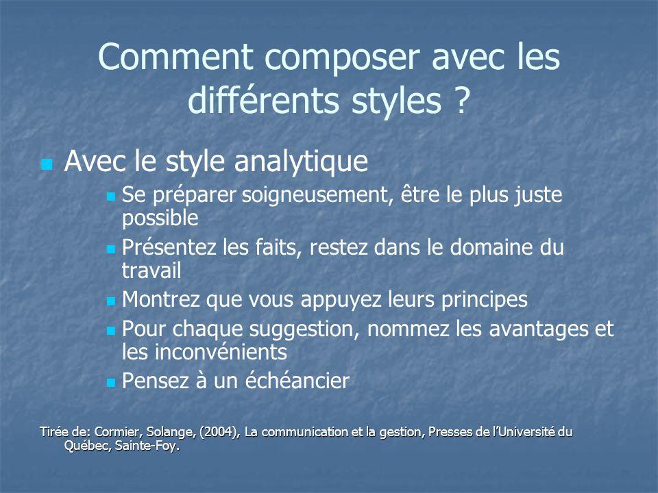 Comment composer avec les différents styles ? Avec le style analytique Se préparer soigneusement, être le plus juste possible Présentez les faits, res