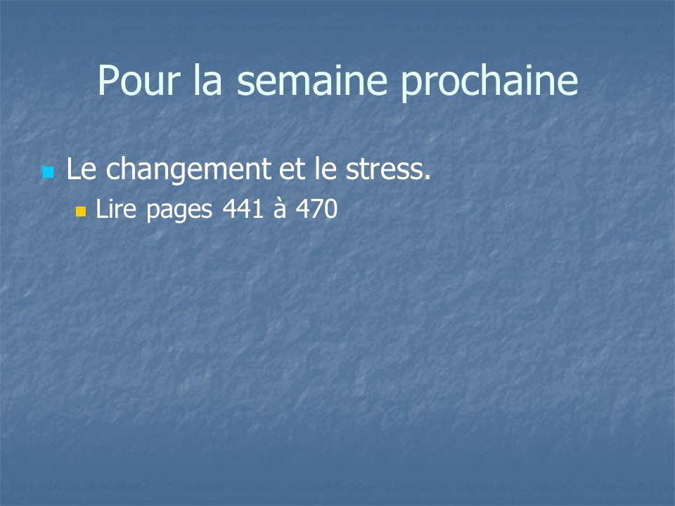 Pour la semaine prochaine Le changement et le stress. Lire pages 441 à 470