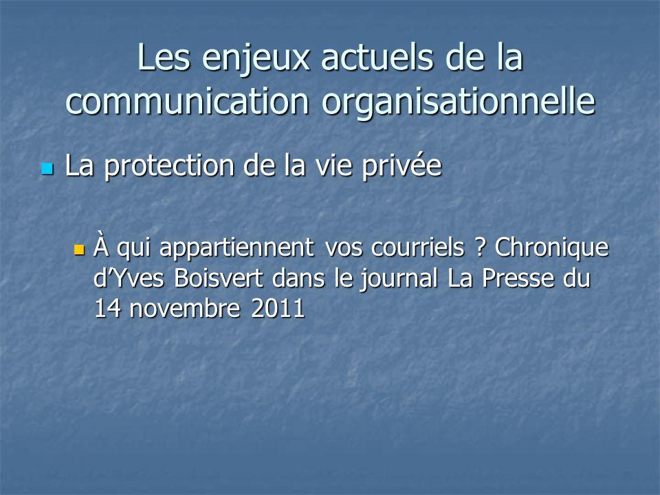 Les enjeux actuels de la communication organisationnelle La protection de la vie privée La protection de la vie privée À qui appartiennent vos courrie