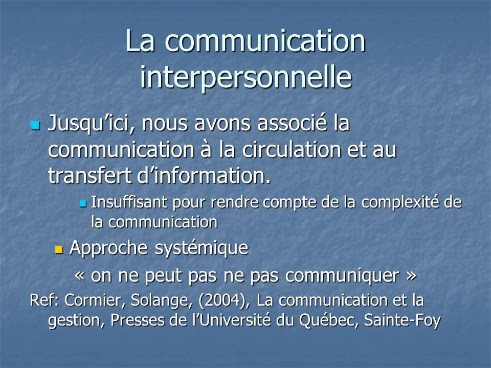 La communication interpersonnelle Jusquici, nous avons associé la communication à la circulation et au transfert dinformation. Jusquici, nous avons as