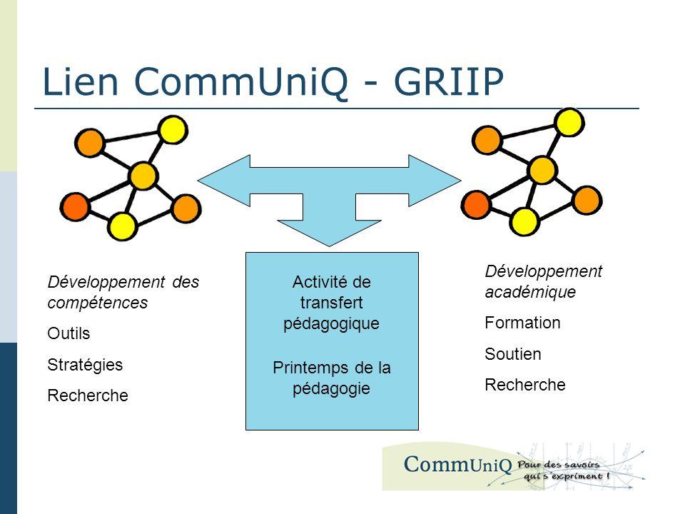 Lien CommUniQ - GRIIP Développement des compétences Outils Stratégies Recherche Développement académique Formation Soutien Recherche Activité de transfert pédagogique Printemps de la pédagogie
