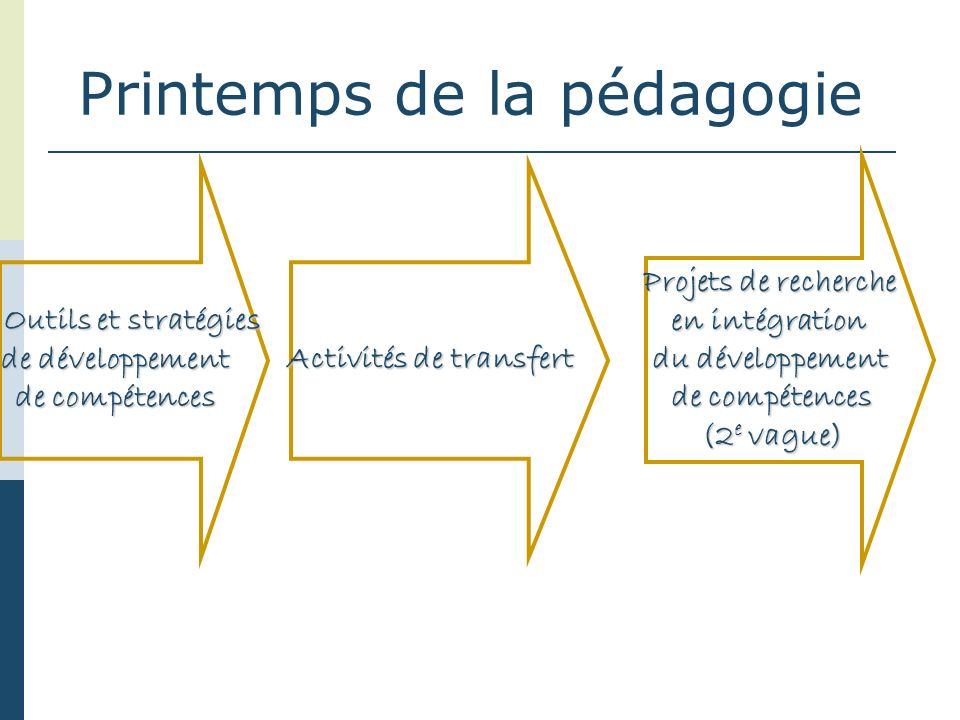 Activités de transfert Outils et stratégies Outils et stratégies de développement de compétences Projets de recherche en intégration du développement de compétences (2 e vague)