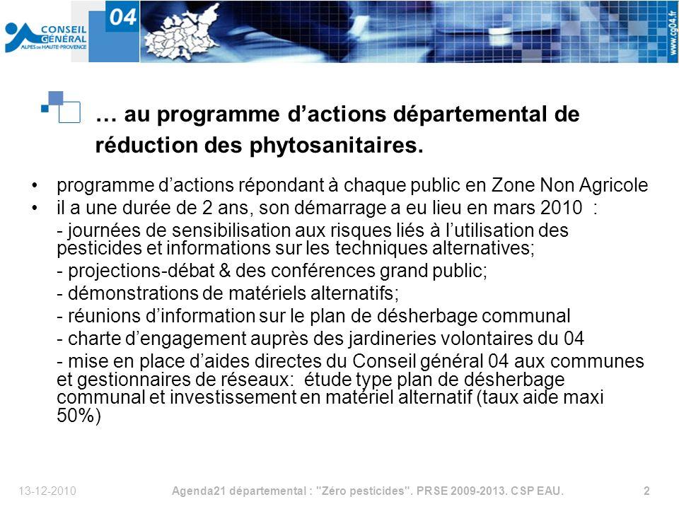 13-12-2010Agenda21 départemental : Zéro pesticides .