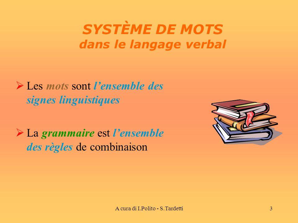 A cura di I.Polito - S.Tardetti3 SYSTÈME DE MOTS dans le langage verbal Les mots sont lensemble des signes linguistiques La grammaire est lensemble des règles de combinaison