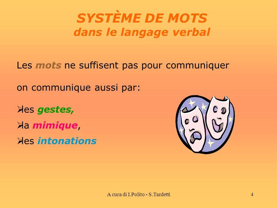 A cura di I.Polito - S.Tardetti4 SYSTÈME DE MOTS dans le langage verbal Les mots ne suffisent pas pour communiquer on communique aussi par: les gestes, la mimique, les intonations