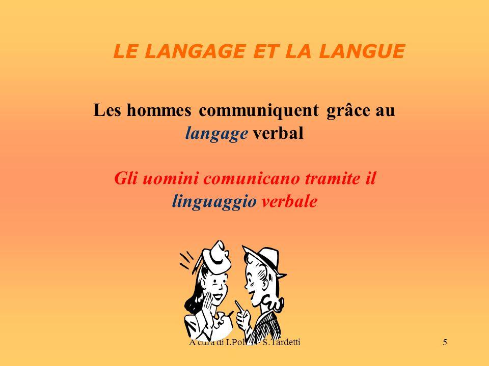 A cura di I.Polito - S.Tardetti5 Les hommes communiquent grâce au langage verbal Gli uomini comunicano tramite il linguaggio verbale LE LANGAGE ET LA LANGUE