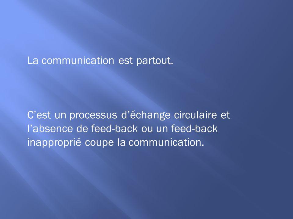La communication est partout. Cest un processus déchange circulaire et labsence de feed-back ou un feed-back inapproprié coupe la communication.