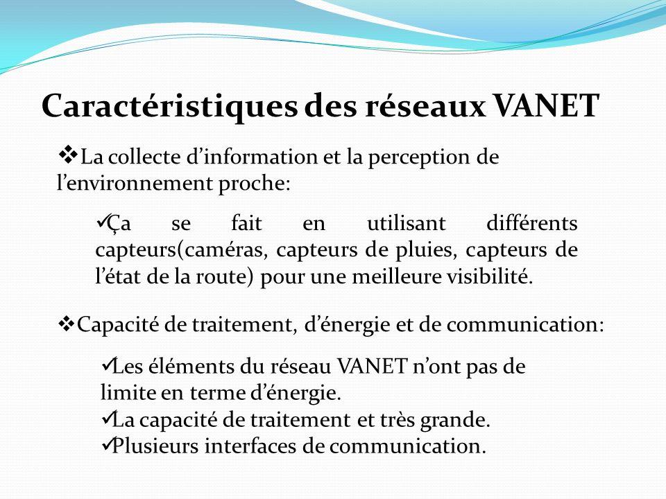 Caractéristiques des réseaux VANET La collecte dinformation et la perception de lenvironnement proche: Ça se fait en utilisant différents capteurs(cam