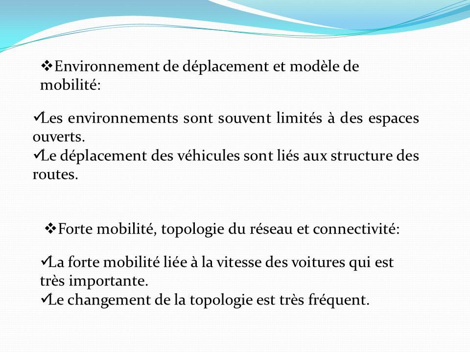 Environnement de déplacement et modèle de mobilité: Les environnements sont souvent limités à des espaces ouverts. Le déplacement des véhicules sont l