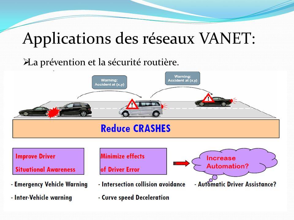Applications des réseaux VANET: La prévention et la sécurité routière.