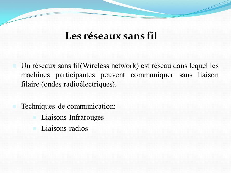 Les réseaux sans fil Un réseaux sans fil(Wireless network) est réseau dans lequel les machines participantes peuvent communiquer sans liaison filaire (ondes radioélectriques).