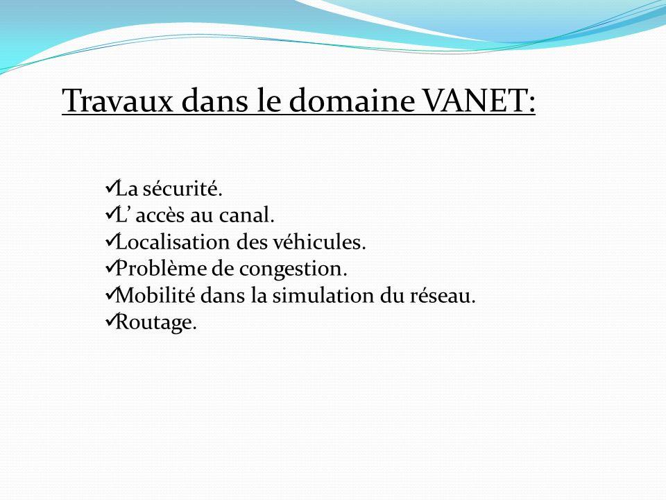 Travaux dans le domaine VANET: La sécurité. L accès au canal. Localisation des véhicules. Problème de congestion. Mobilité dans la simulation du résea