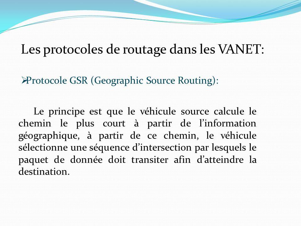 Les protocoles de routage dans les VANET: Protocole GSR (Geographic Source Routing): Le principe est que le véhicule source calcule le chemin le plus court à partir de linformation géographique, à partir de ce chemin, le véhicule sélectionne une séquence dintersection par lesquels le paquet de donnée doit transiter afin datteindre la destination.