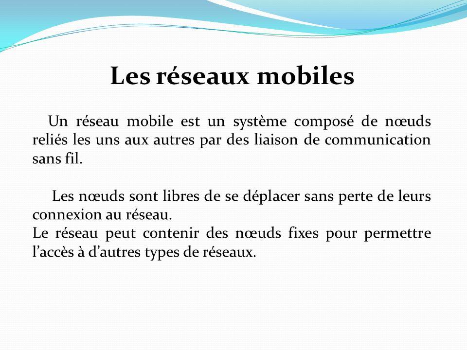 Les réseaux mobiles Un réseau mobile est un système composé de nœuds reliés les uns aux autres par des liaison de communication sans fil. Les nœuds so