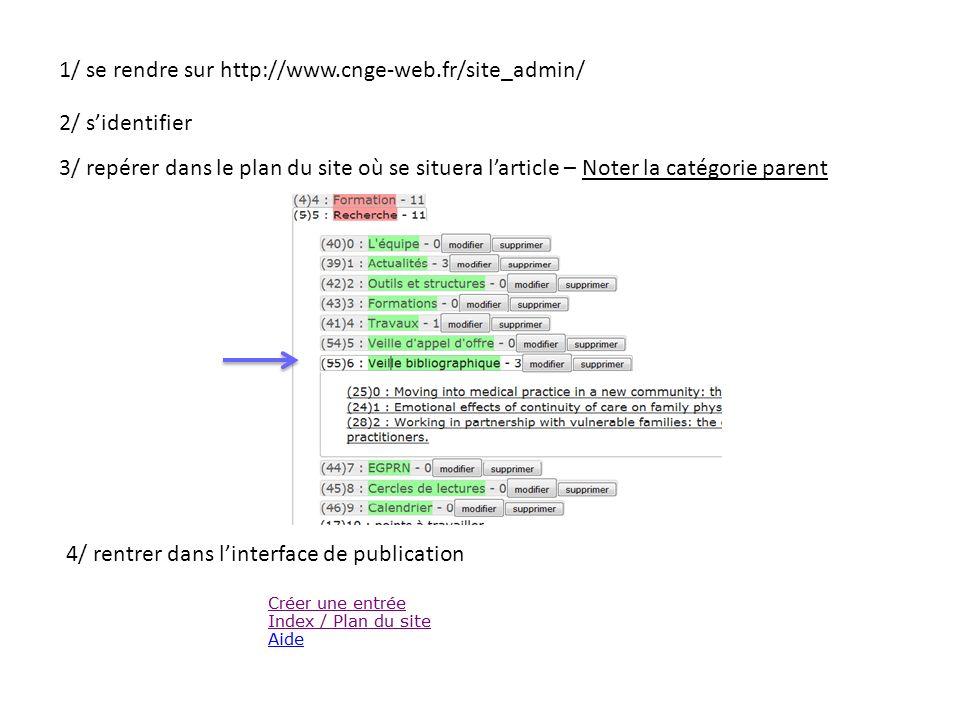 1/ se rendre sur http://www.cnge-web.fr/site_admin/ 2/ sidentifier 3/ repérer dans le plan du site où se situera larticle – Noter la catégorie parent 4/ rentrer dans linterface de publication