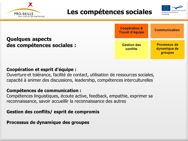 Les compétences sociales Quelques aspects des compétences sociales : Coopération et esprit déquipe : Ouverture et tolérance, facilité de contact, util
