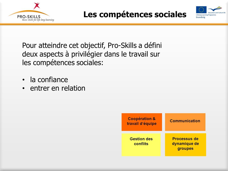 Les compétences sociales Pour atteindre cet objectif, Pro-Skills a défini deux aspects à privilégier dans le travail sur les compétences sociales: la