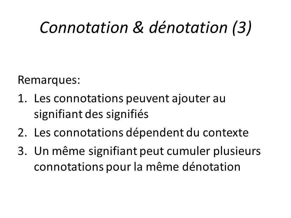 Connotation & dénotation (3) Remarques: 1.Les connotations peuvent ajouter au signifiant des signifiés 2.Les connotations dépendent du contexte 3.Un m