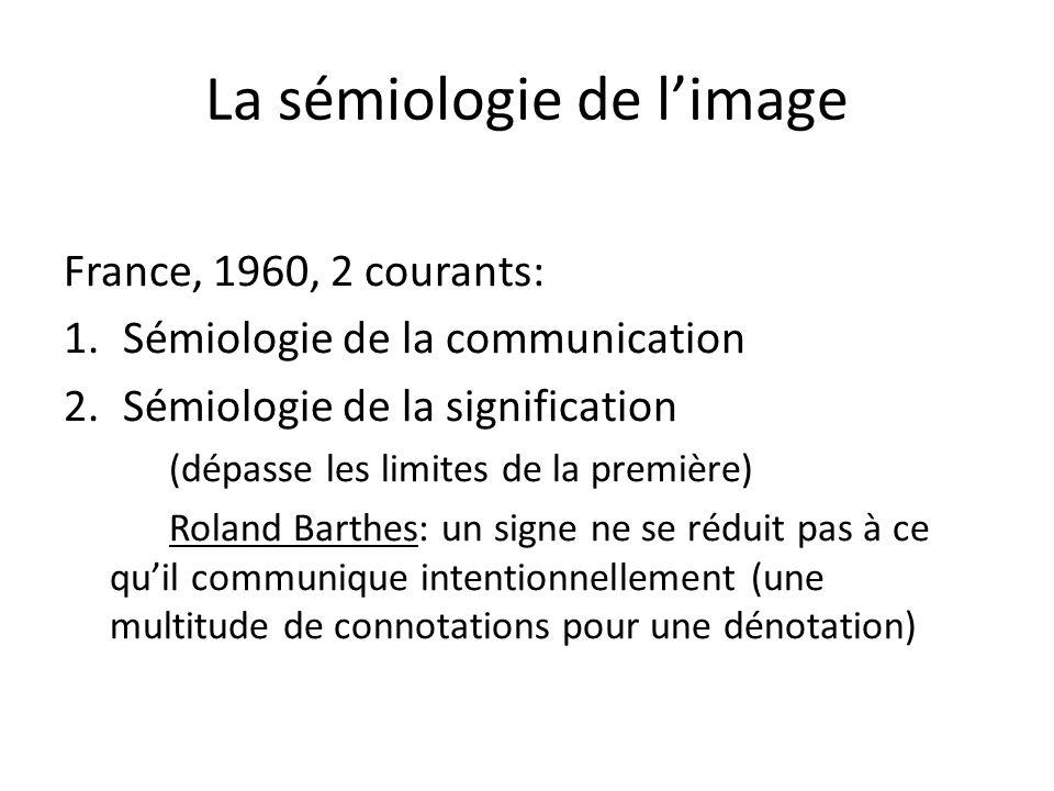 La sémiologie de limage France, 1960, 2 courants: 1.Sémiologie de la communication 2.Sémiologie de la signification (dépasse les limites de la premièr