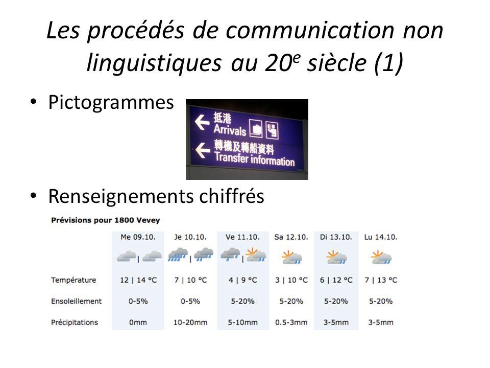 Les procédés de communication non linguistiques au 20 e siècle (1) Pictogrammes Renseignements chiffrés