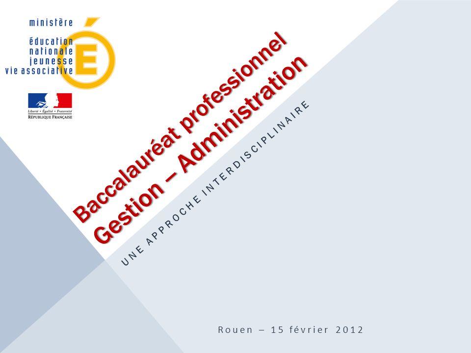 Baccalauréat professionnel Gestion -- Administration UNE APPROCHE INTERDISCIPLINAIRE Rouen – 15 février 2012