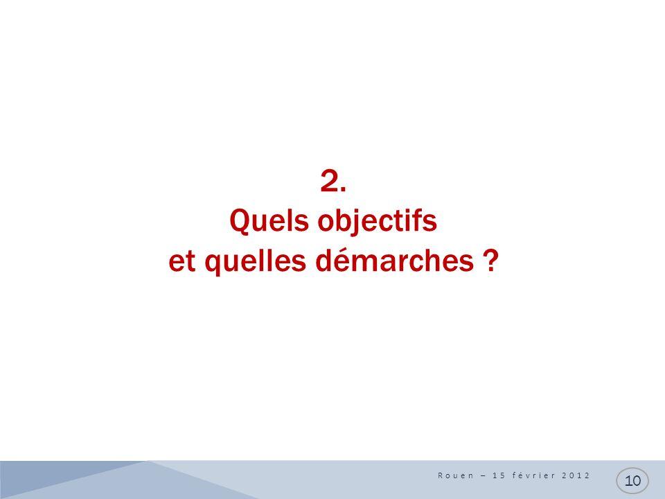 2. Quels objectifs et quelles démarches ? Rouen – 15 février 2012 10