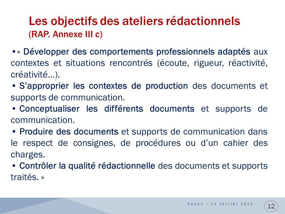 Les objectifs des ateliers rédactionnels (RAP. Annexe III c) Rouen – 15 février 2012 12 « Développer des comportements professionnels adaptés aux cont