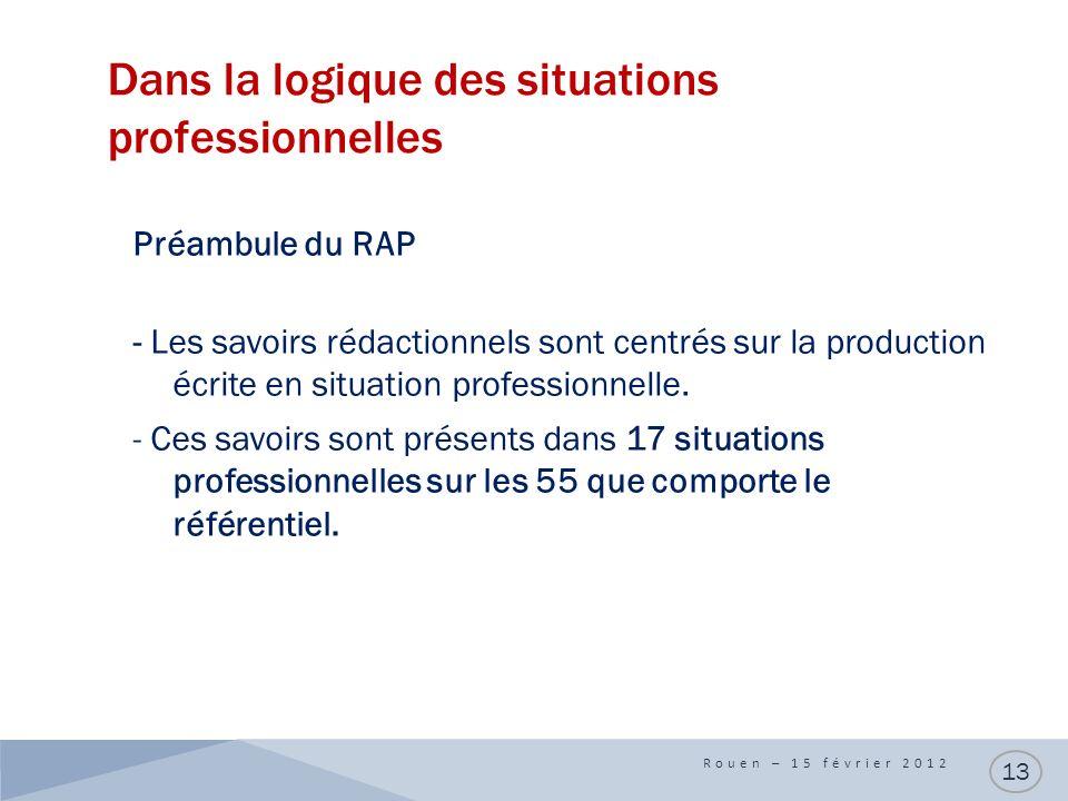 Dans la logique des situations professionnelles Rouen – 15 février 2012 13 Préambule du RAP - Les savoirs rédactionnels sont centrés sur la production