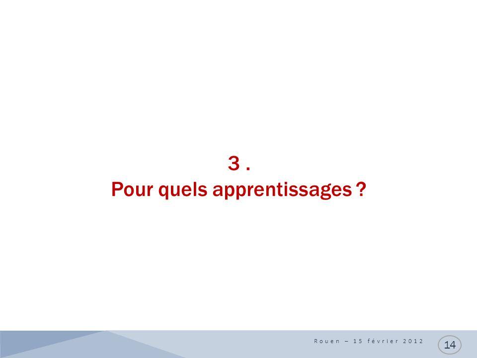 3. Pour quels apprentissages Rouen – 15 février 2012 14