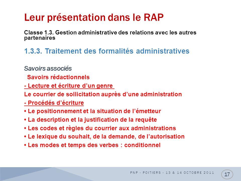 Leur présentation dans le RAP Classe 1.3. Gestion administrative des relations avec les autres partenaires 1.3.3. Traitement des formalités administra