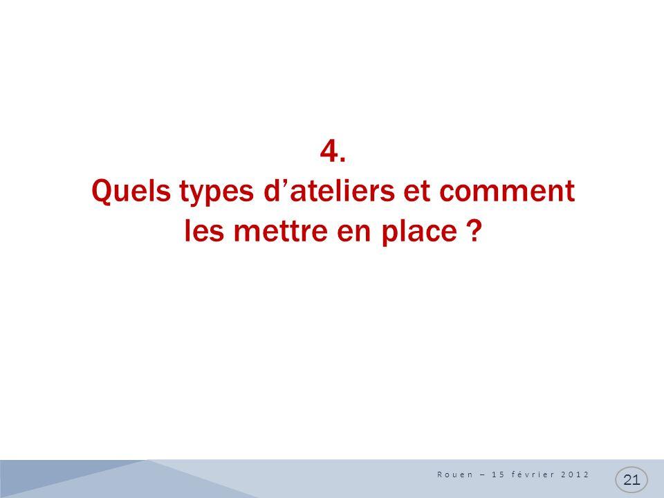 4. Quels types dateliers et comment les mettre en place Rouen – 15 février 2012 21