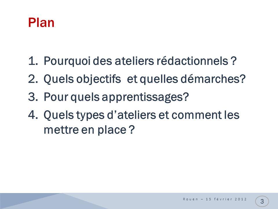 Plan 1.Pourquoi des ateliers rédactionnels ? 2.Quels objectifs et quelles démarches? 3.Pour quels apprentissages? 4.Quels types dateliers et comment l