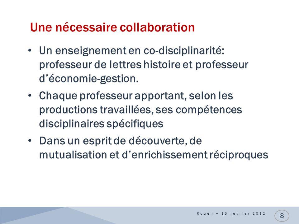 Une nécessaire collaboration Un enseignement en co-disciplinarité: professeur de lettres histoire et professeur déconomie-gestion.